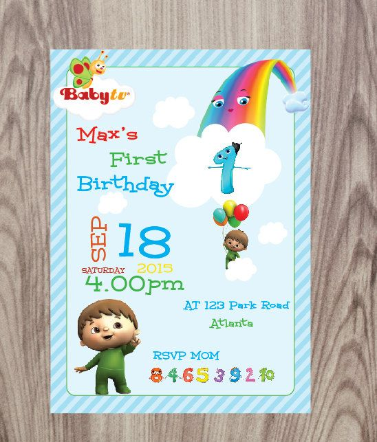 Baby Tv Invitation Charlie And The Numbers DIY Printable By CraftShopLK On Etsy