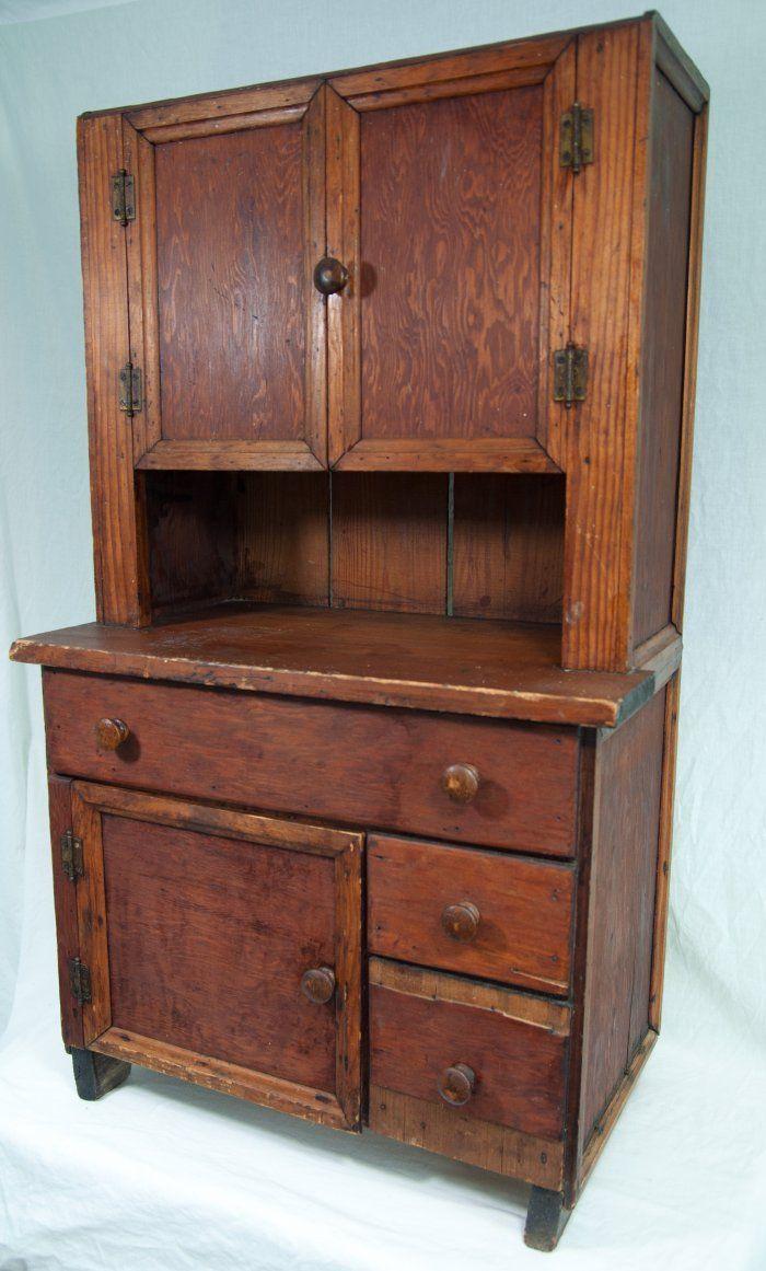 Antique Primitive Folk Art Wooden Children's Cupboard (side view) |  Approximate Size: 39 - Antique Primitive Folk Art Wooden Children's Cupboard (side View