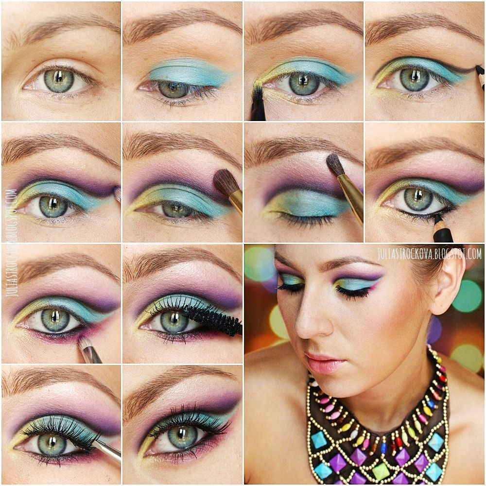 Makeup Tutorial Step By Step Colourful Eyeshadow Prom Colorful