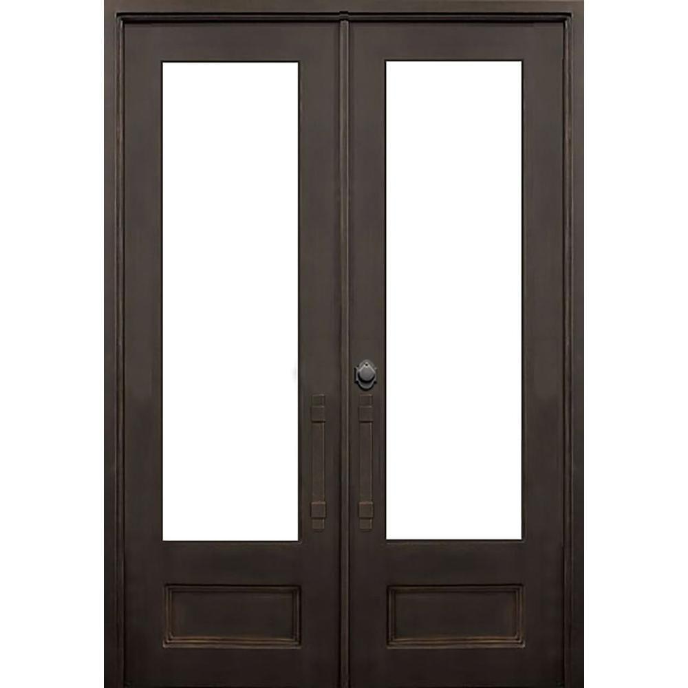 ALLURE IRON DOORS U0026 WINDOWS 72 In. X 96 In. Marco Island Dark Bronze  Classic 3/4 Lite Painted Wrought Iron Prehung Front Door (Hardware ...