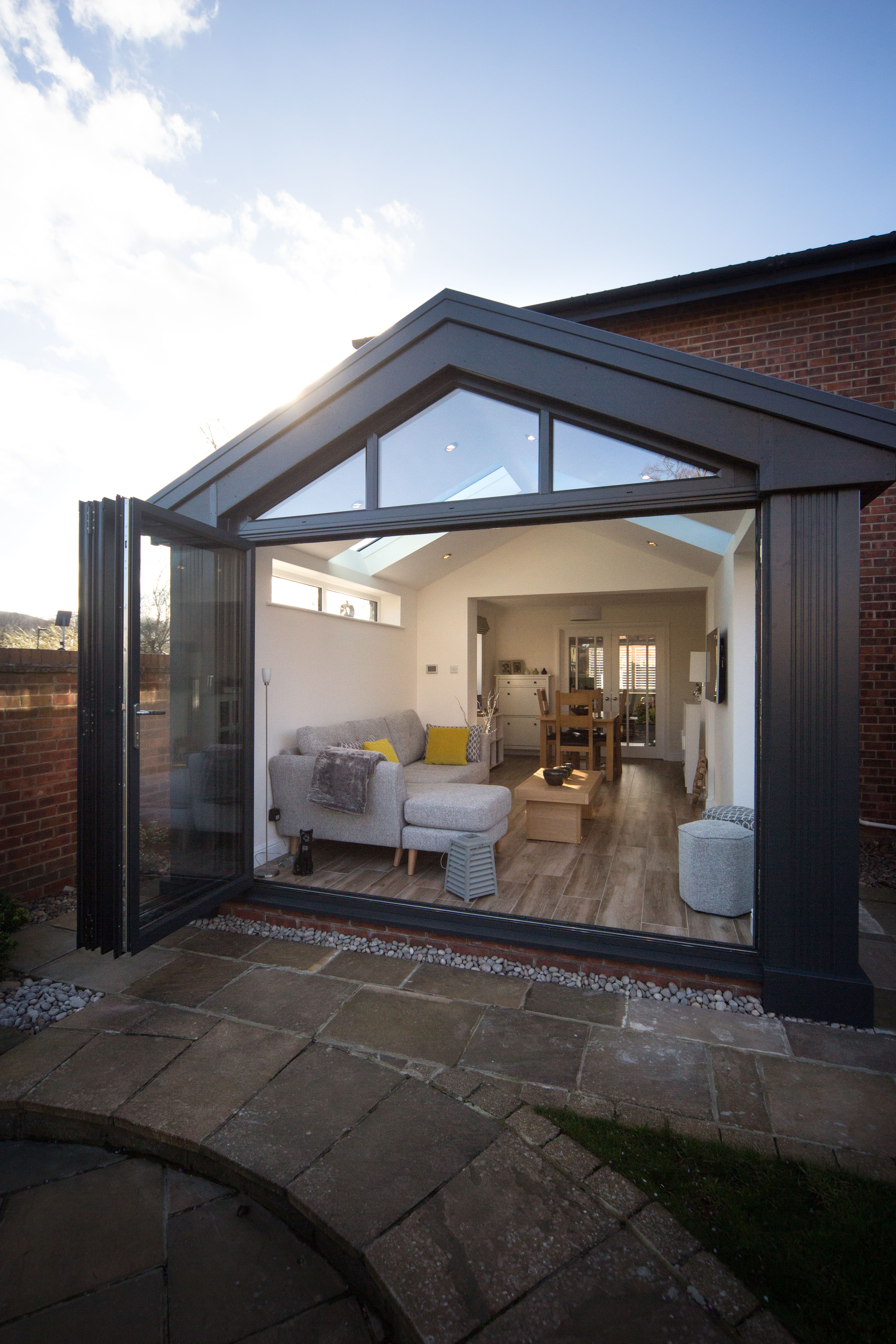 7 Stunning Home Extension Ideas: This Stunning Gable Replacement Roof Features The Ultraroof Tiled Roof. The Gable Frame A