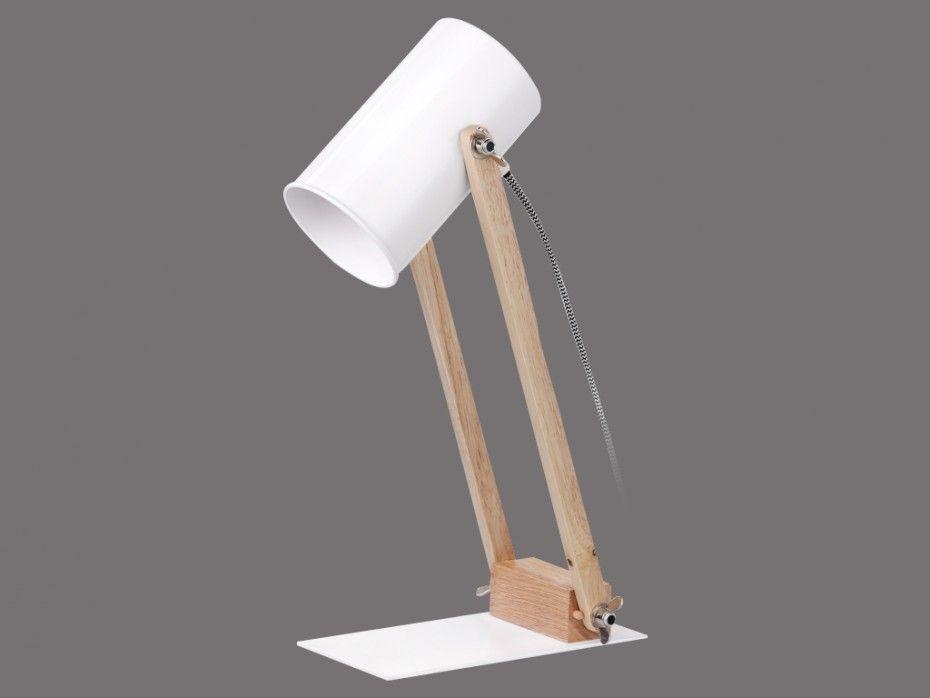Lampe de bureau orientable ilona blanc et bois l p h cm