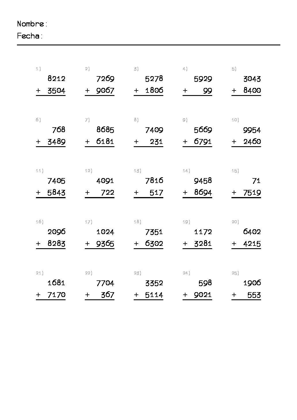 1ejercicios De Sumas De Primaria Para Imprimir Png 1033 1462 Math Sheets Math Drills Math Worksheets