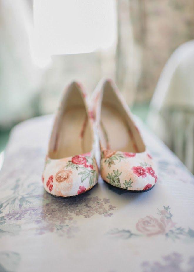 Ballerine motif à fleurs. Floral flats.   Chaussures de Mariée ... ba81fe87480a