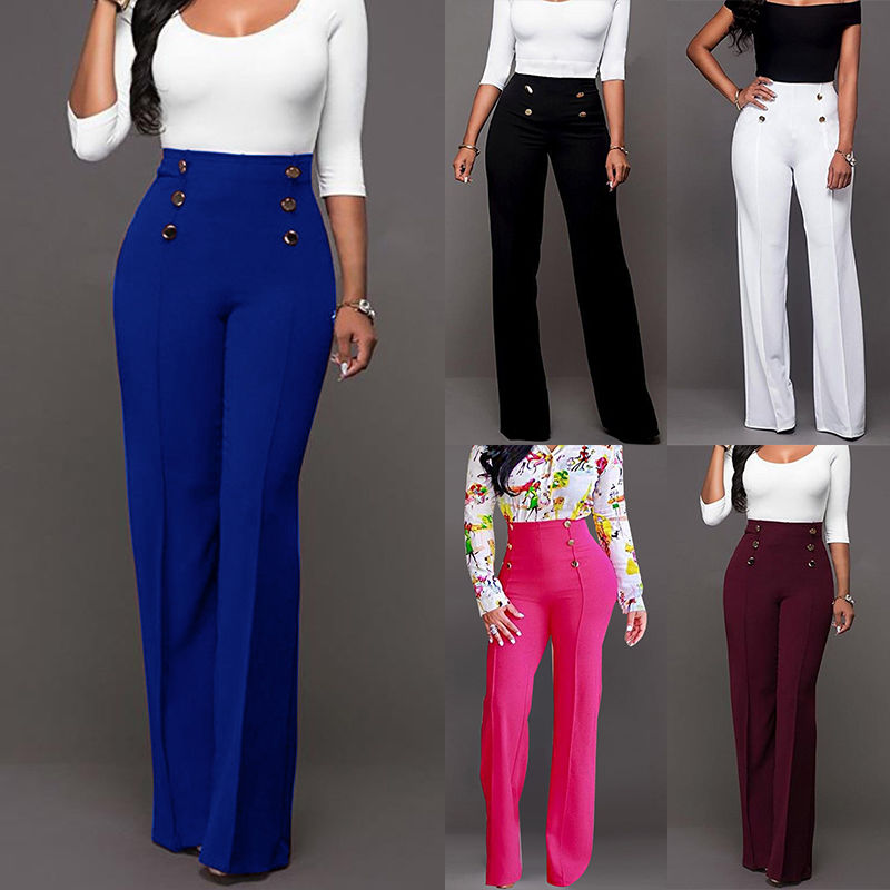 281a7f6c7a1 Hot Womens Plus Size Work Trousers Office Formal Plain High Waist Straight  Pants
