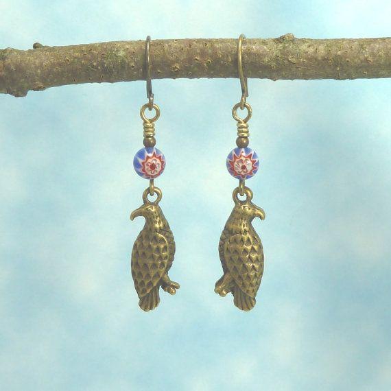 Handmade Earrings   Liberty  Bronze  Eagle   Red by Hyacinthsbyme, $7.00