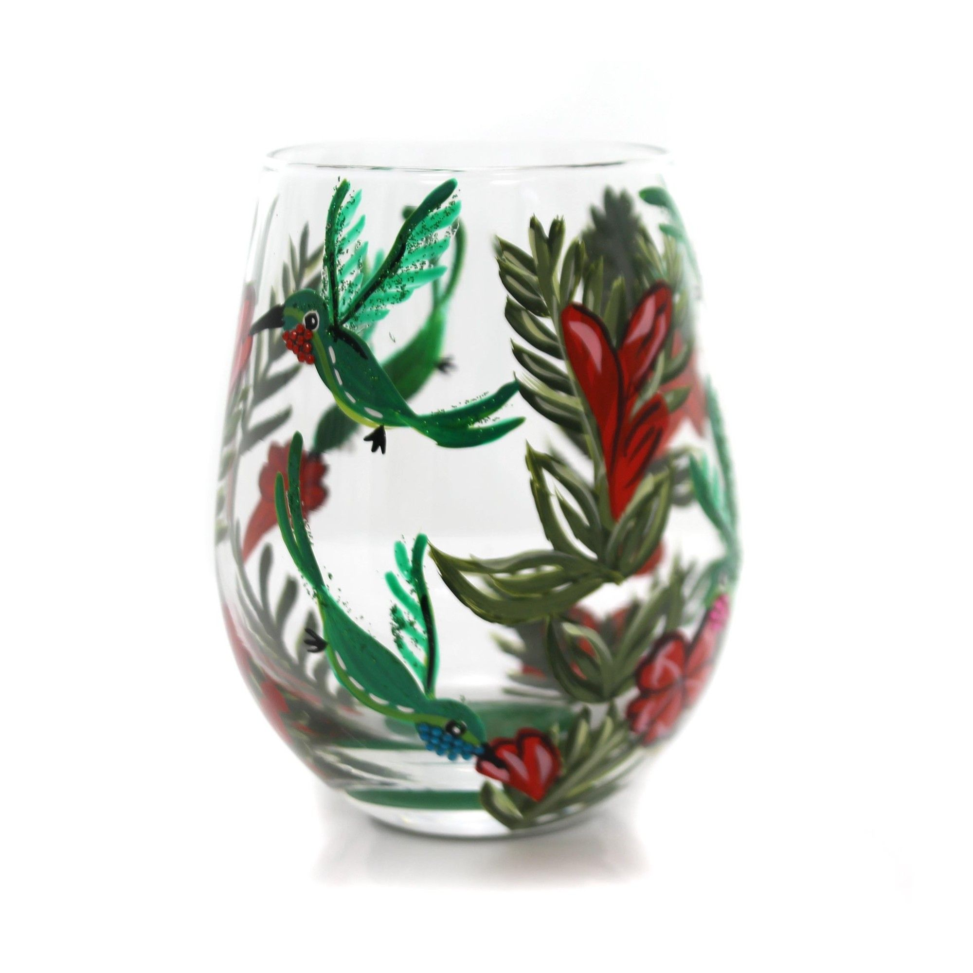 """Enesco 4.75"""" Hummingbird Love My Wine Stemmless Wine Glass"""