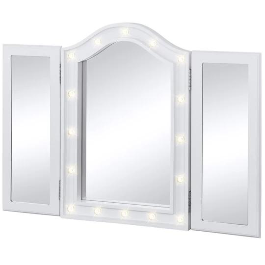 Lighted Tabletop Tri Fold Vanity Mirror W 16 Led Lights Velvet Lined Back Mirror Decor Vanity Table Set Vanity Mirror