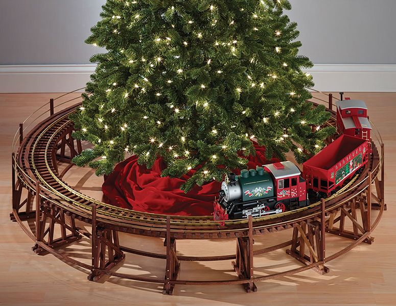 if youve always wanted a little train circling around the christmas tree then