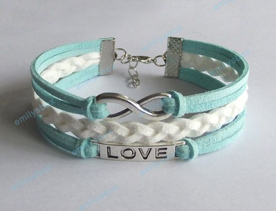 pin bracelets s leather love infinity charm men bracelet women bangles mint bangle