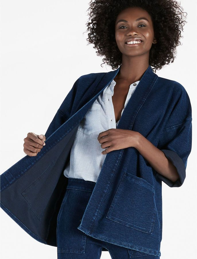 b66859383 Lucky Brand Dark Knit Denim Kimono Wrap Jacket | Shop the look ...