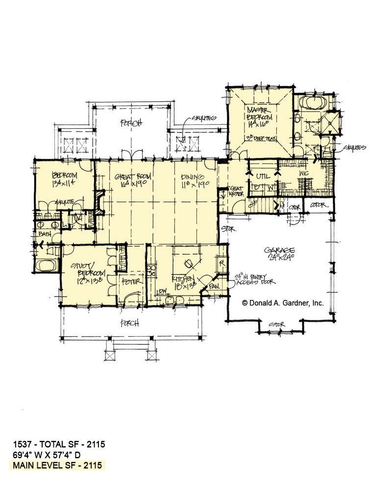Conceptual House Plan 1537 Is A One Story Design With A Family Friendly Floor Plan Wedesigndrea House Plans One Story Porch House Plans Craftsman House Plans
