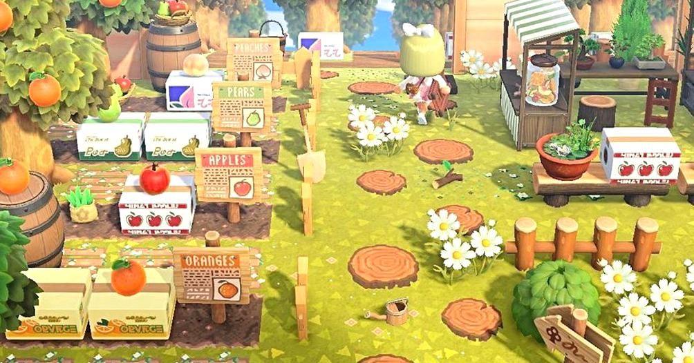 Animal Crossing New Horizons On Instagram Idea For A Fruit Tree Farmfarmers Market Credit To Medi Fruit Animals Animal Crossing Wild World Animal Crossing Qr