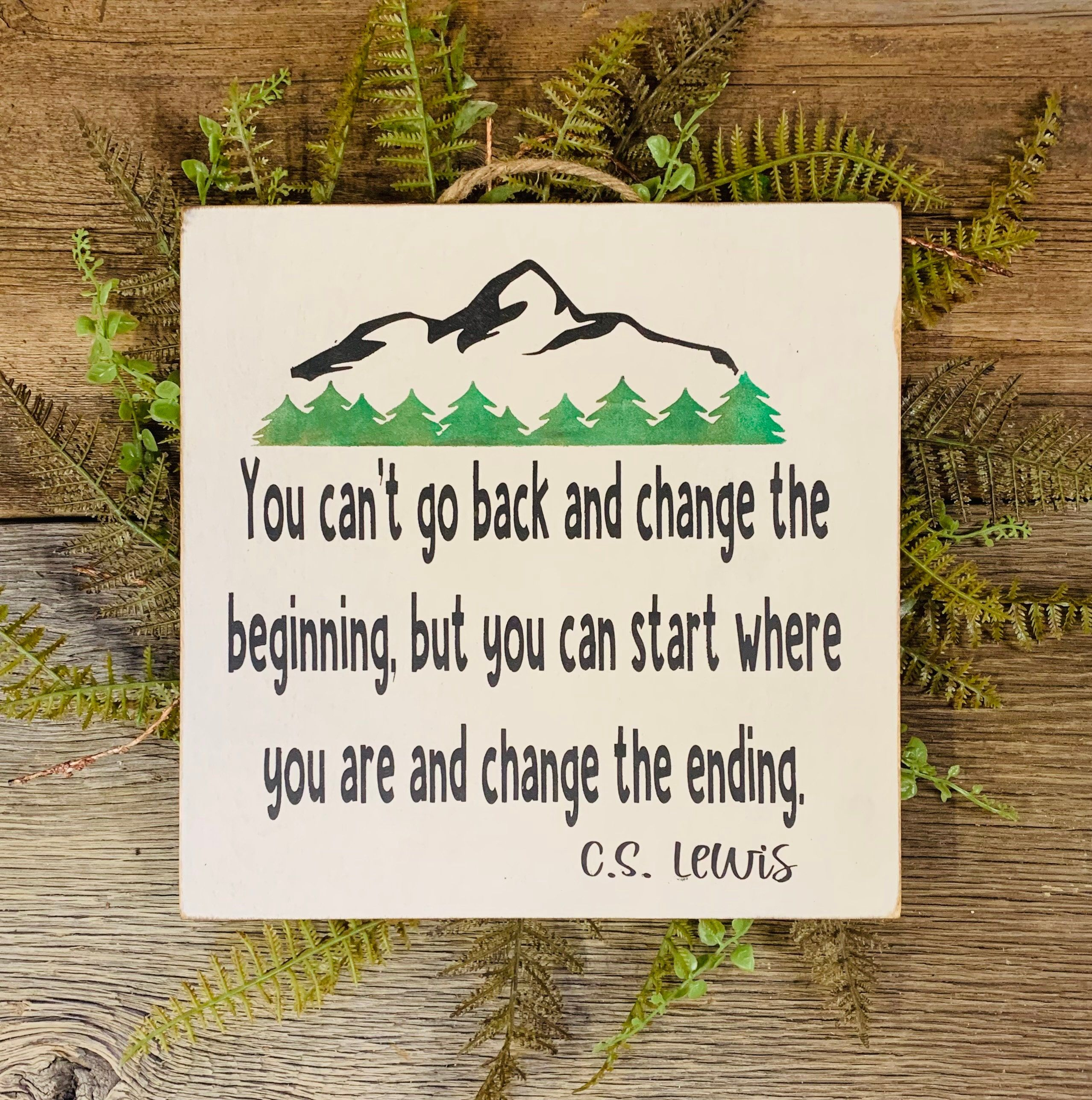 CS Lewis Quote, You Can't Go Back and Change the Beginning, Christian Gift, Inspirational Quote, Rehab Sign, Encouragement Gift