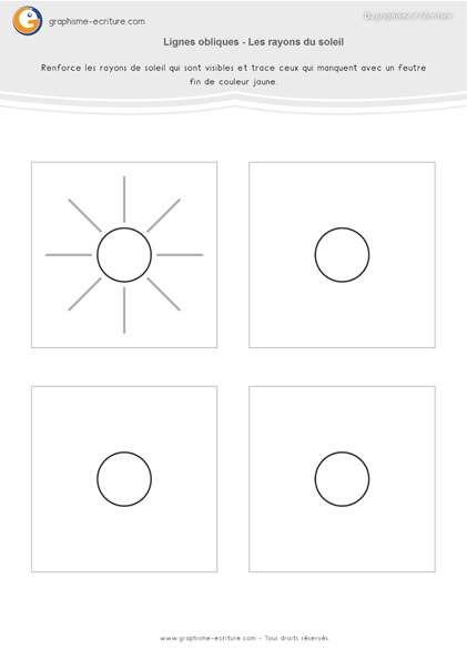 Graphisme MS Lignes obliques - Les rayons du soleil | Graphisme moyenne section, Fiches de ...