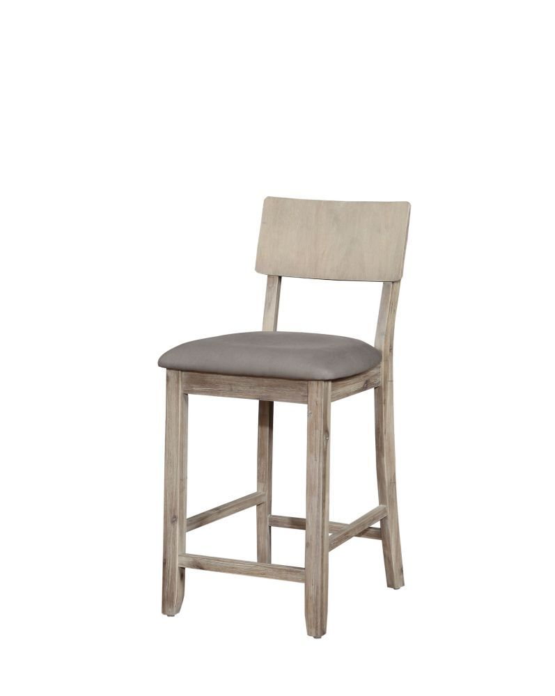 Solid Wood Grey Rustic Full Back Armless Bar Stool With Grey Linen Seat Counter Stools Counter Stools With Backs Home Decor