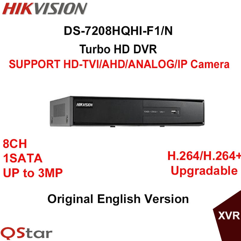 115.36$  Buy here - http://alio06.worldwells.pw/go.php?t=32778081685 - Hikvision Original English Version DS-7208HQHI-F1/N Turbo HD DVR SUPPORT HD-TVI/AHD/Analog/IP Camera UP to 3MP