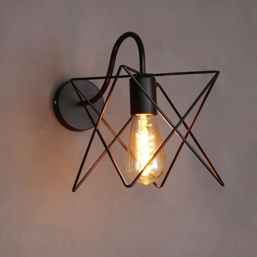 acheter vintage cage de fer mur lampe murale industrielle lumi re edison ampoule. Black Bedroom Furniture Sets. Home Design Ideas