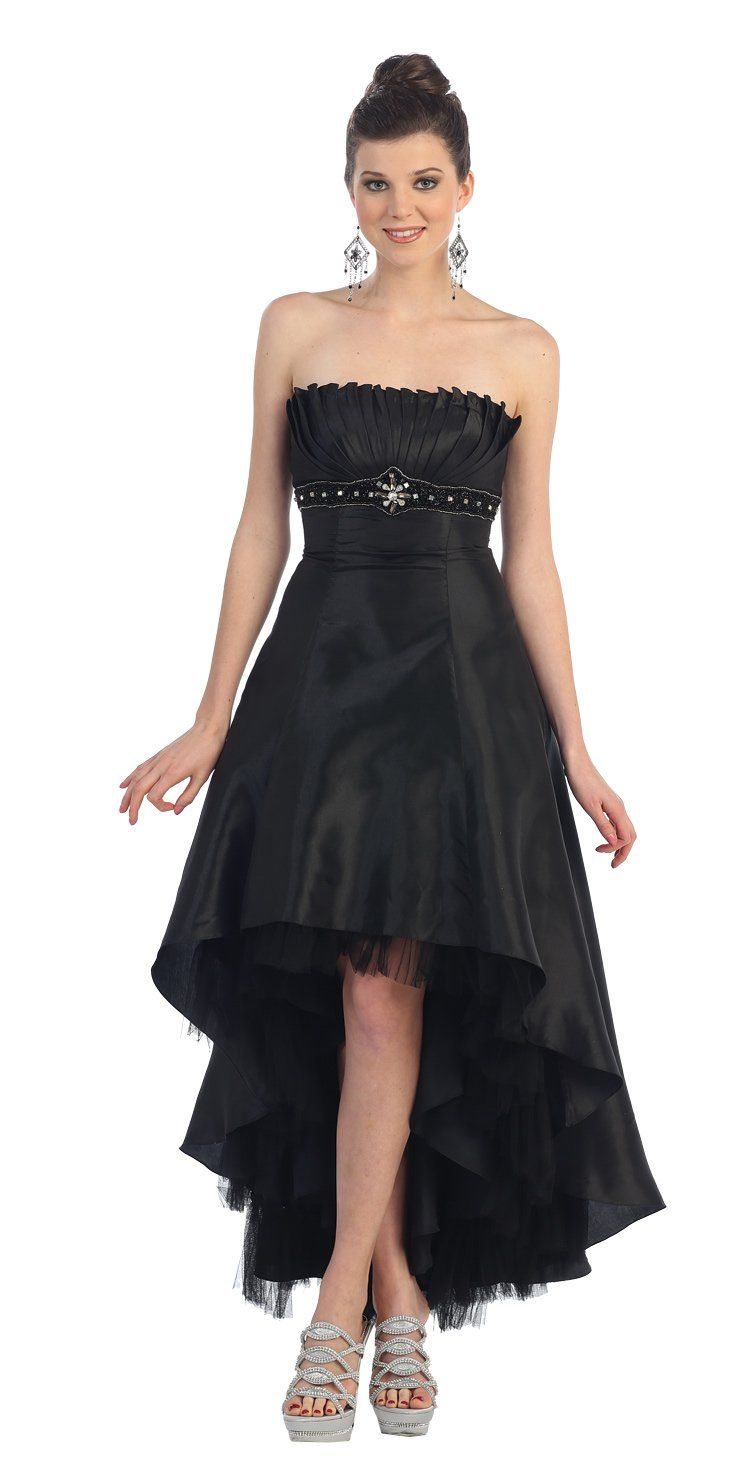 Strapless prom dress jr long gown black formal events