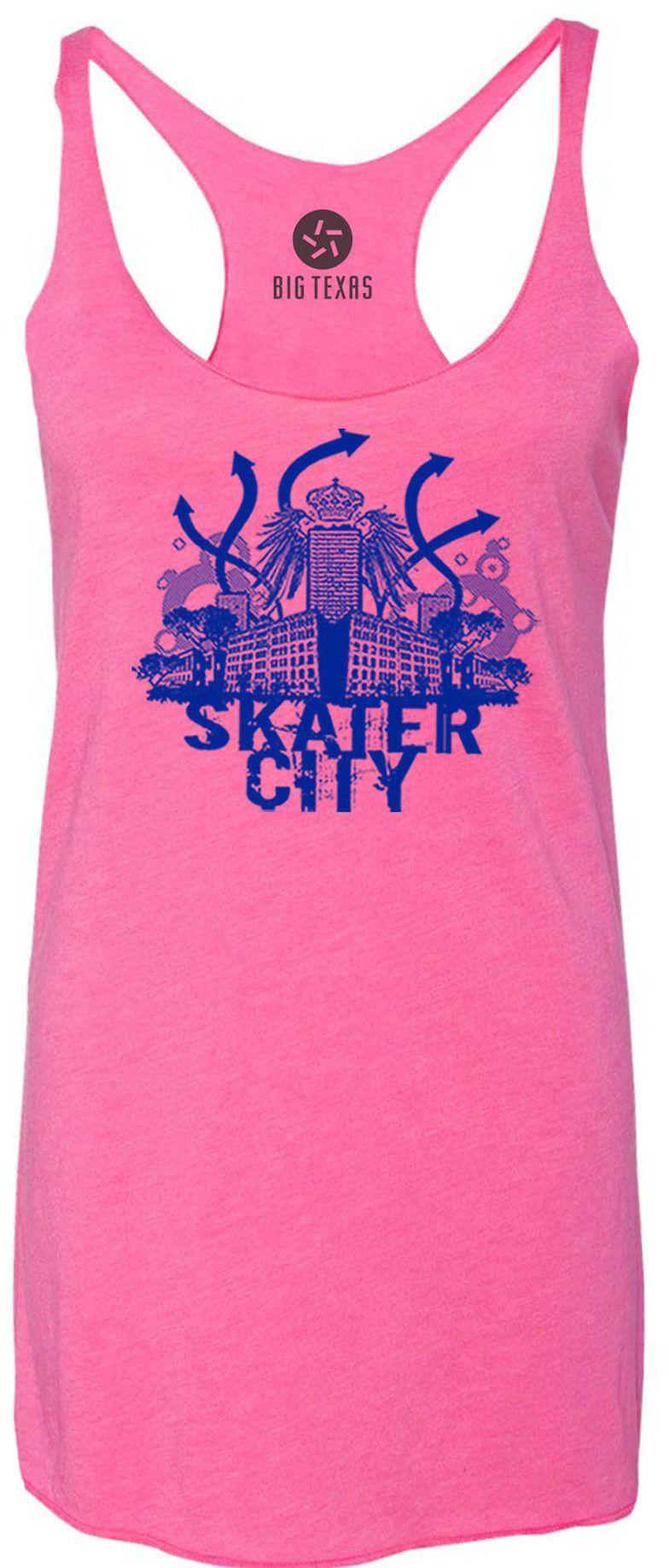 Skater City (Blue) Tri-Blend Racerback Tank-Top