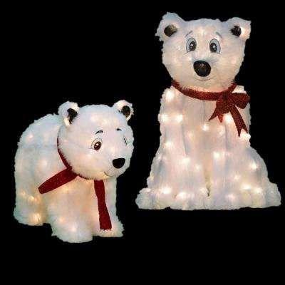 Candy Cane Lane Pre Lit Polar Bear Yard Decor Set Of At The Home Depot Mobile