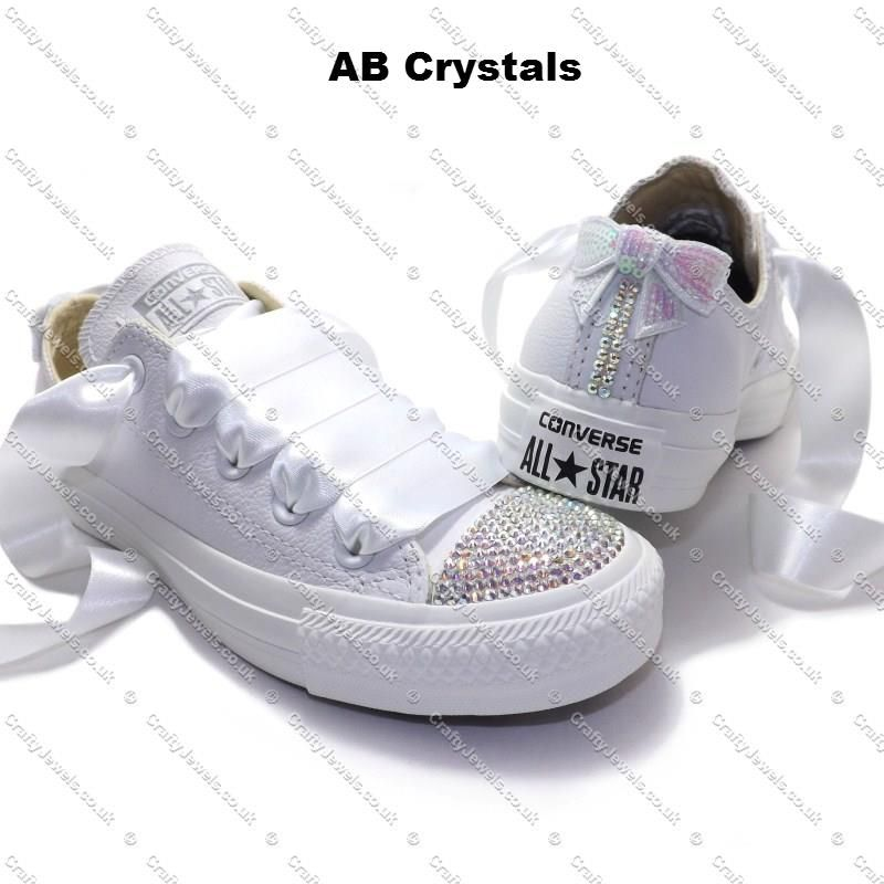 f504e79b1e9b Pure White Leather Converse with Swarovski or Hi-Grade Glass Diamante  Crystals Toes - Clear Swarovski or Hi-Grade Glass Diamante Crystals Sides-