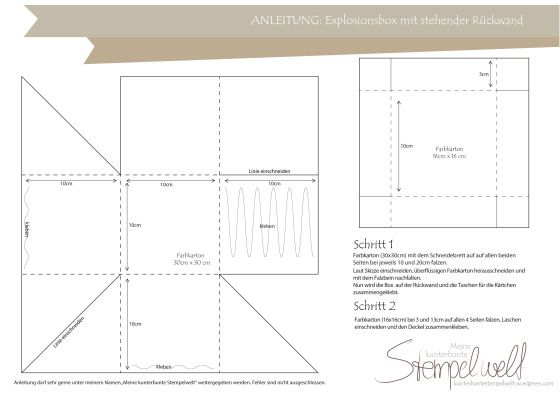 Explosion Box Template With Pockets For Tags