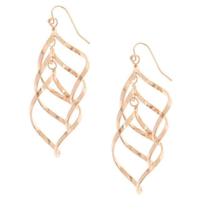 Rose GoldTone Swirl Drop Earrings The triple swirl rosegold tone