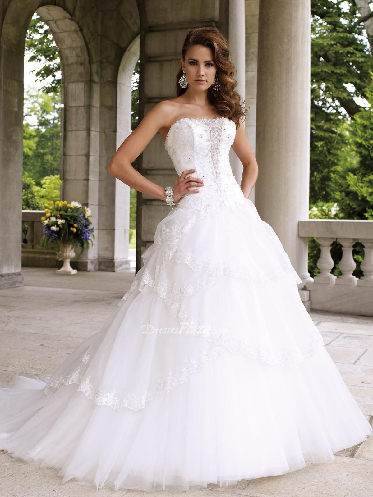 strapless winter ball gown beaded lace bodice multi-tiered scalloped ...