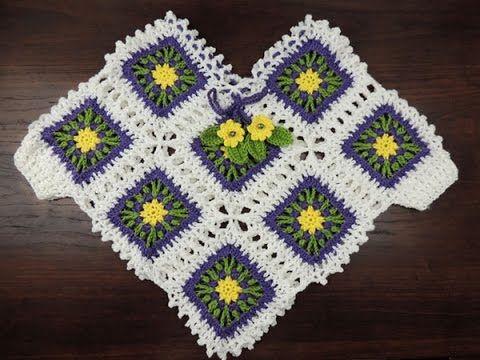 Crochet: Poncho con Cuadrados para niñas | Tejido - Puntos ...
