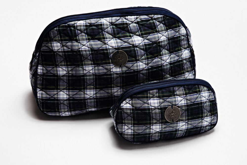 Cute checkered make-up and toilet bag with Florence Design coin!