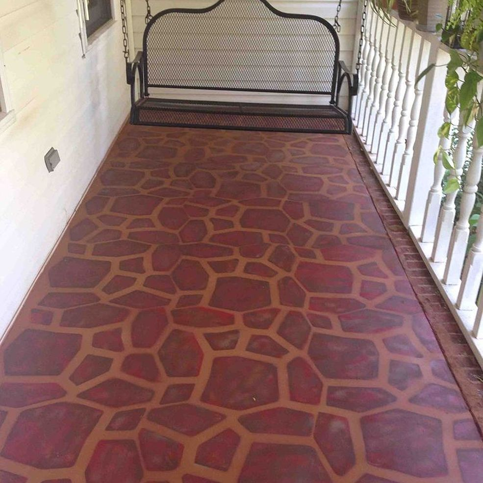 Painted Concrete Porch With A Stone Stencil Painted Concrete Porch Porch Paint Painting Concrete