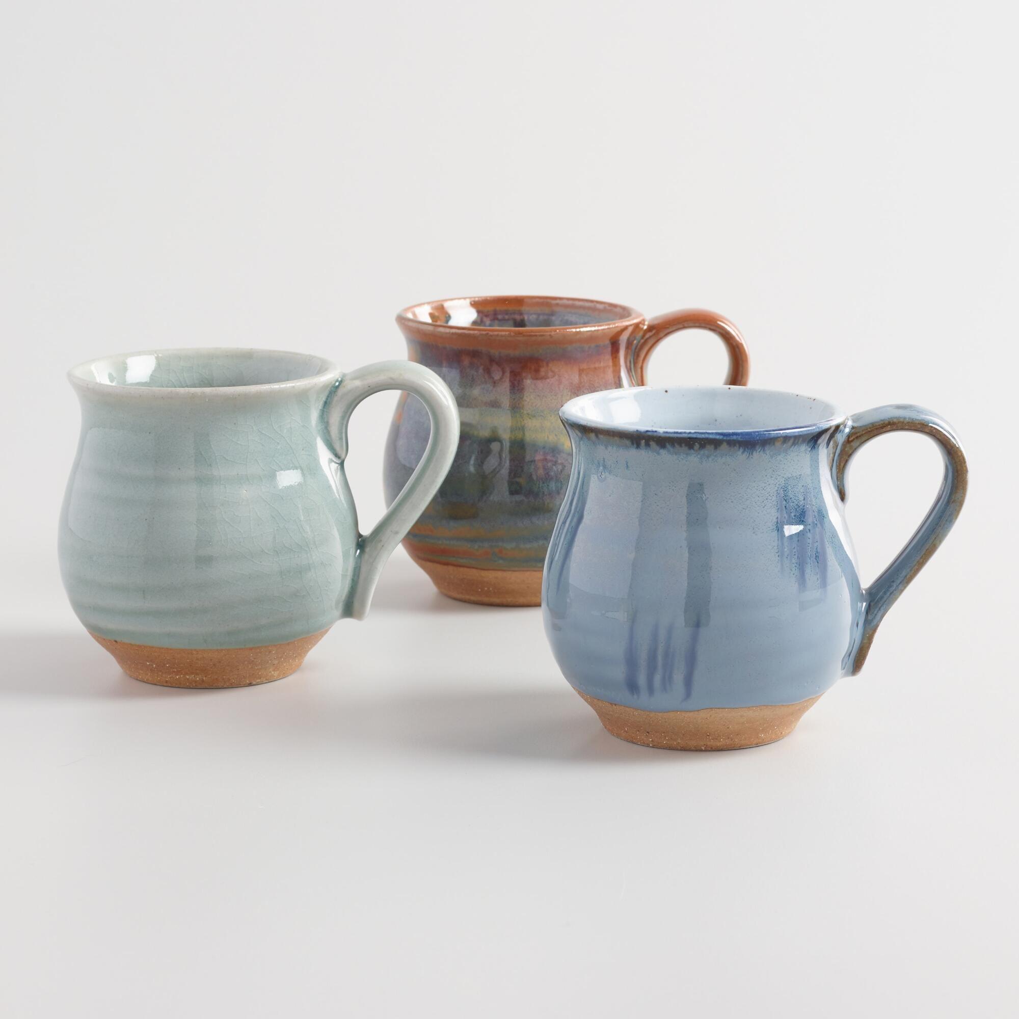 Organic Glazed Ceramic Belly Mugs Set of 3: Blue by World Market