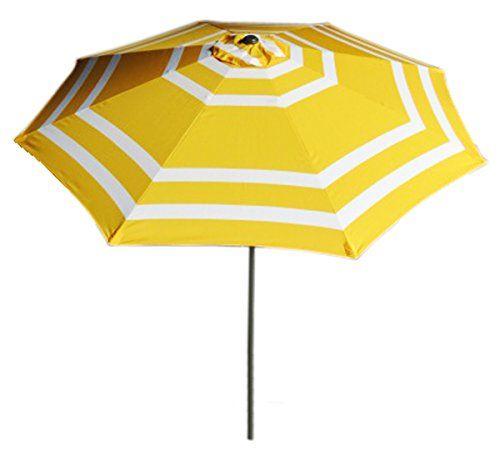 9ft Wide Striped Aluminum Adjule Umbrella With Crank Vmi