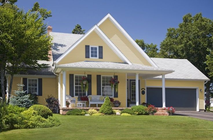 Yellow siding houses gray shutters google search home for What is the best siding for a house