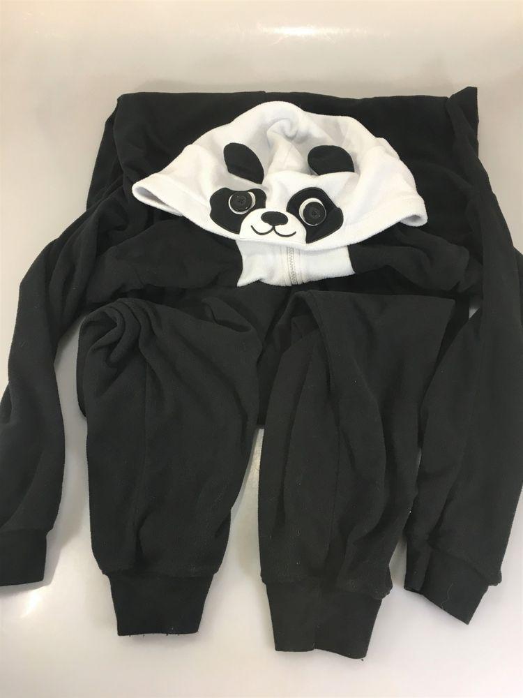 13803f7308dc Nick   Nora M Panda Black White 1 Piece Fleece Pajamas Hooded ...