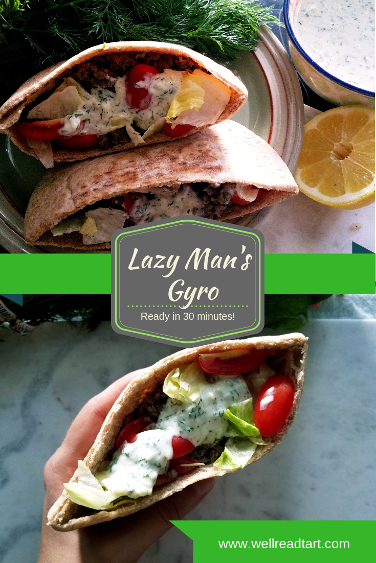This Lazy Man's Gyro with homemade Tzatziki Sauce is perfect for when you want a gyro AND an easy, homecooked meal. #gyro #takeoutathome #beef #tzatziki #pita #sandwich