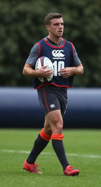 George Ford looks on during the England training session held at Pennyhill Park on November 15, 2016 in Bagshot, England.