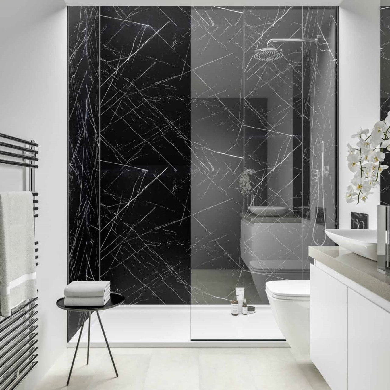 Love The Look Of Real Marble But Not The Eye Watering Price Tag A Marble Effect Wall Pan Black Marble Bathroom White Marble Bathrooms Marble Bathroom Designs