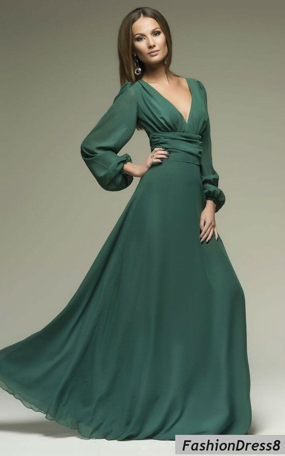 ad15147152f9 Women's Sexy Dark Green Long Sleeve Cut Out Plus Size Evening Chiffon Maxi  Dress