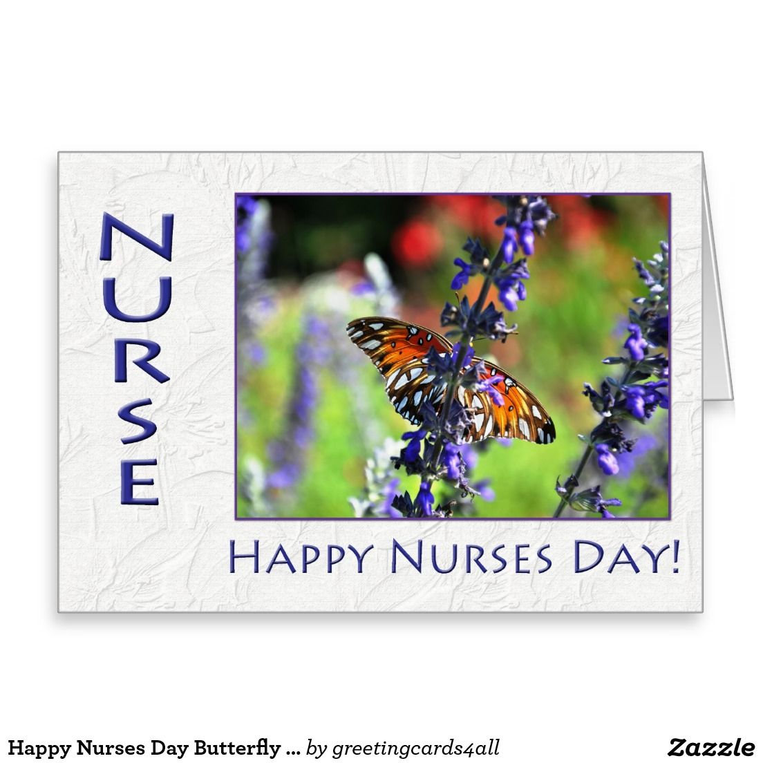 Happy Nurses Day Butterfly and Flowers Card