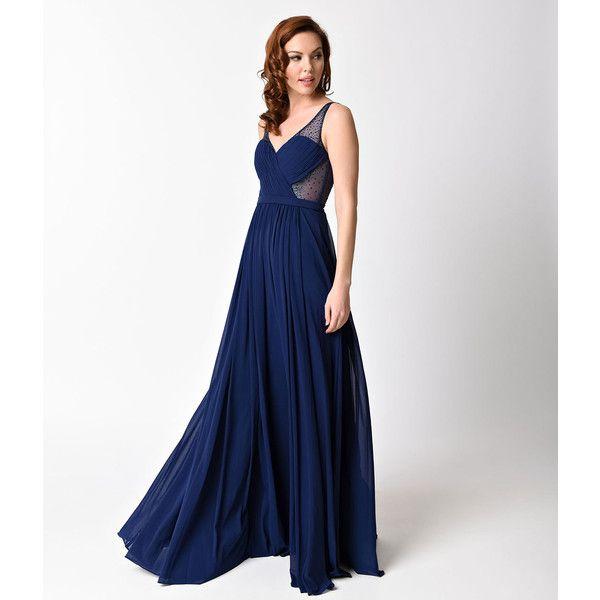 plus size navy blue sexy embellished chiffon dress ($176) ❤ liked