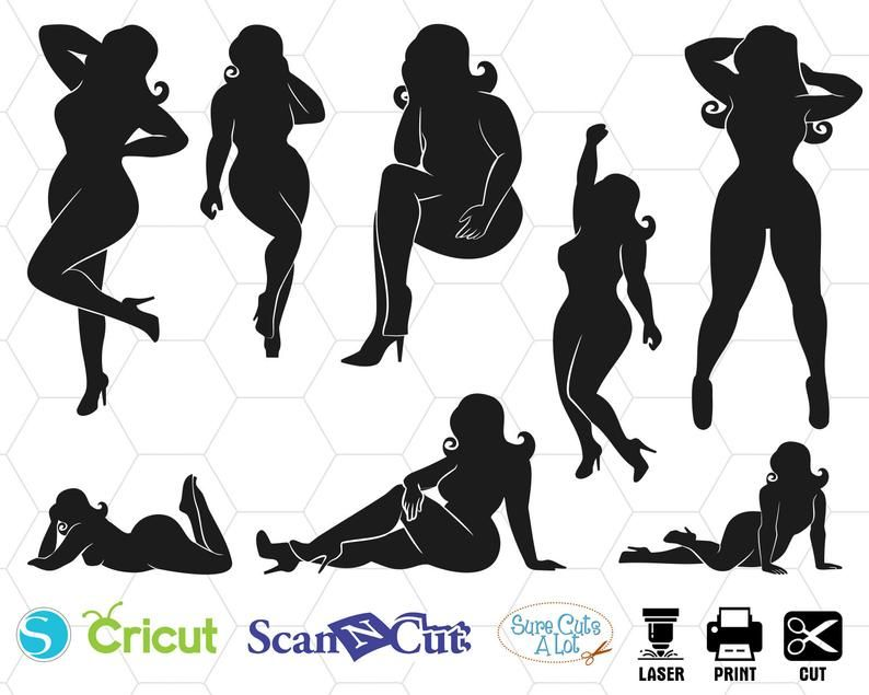 Photo of fashion model svg, Plus Size Girls svg, fullbody svg, dxf, png, eps, print, cut, download, model, cutting, cameo. cricut, silhouette, jpg