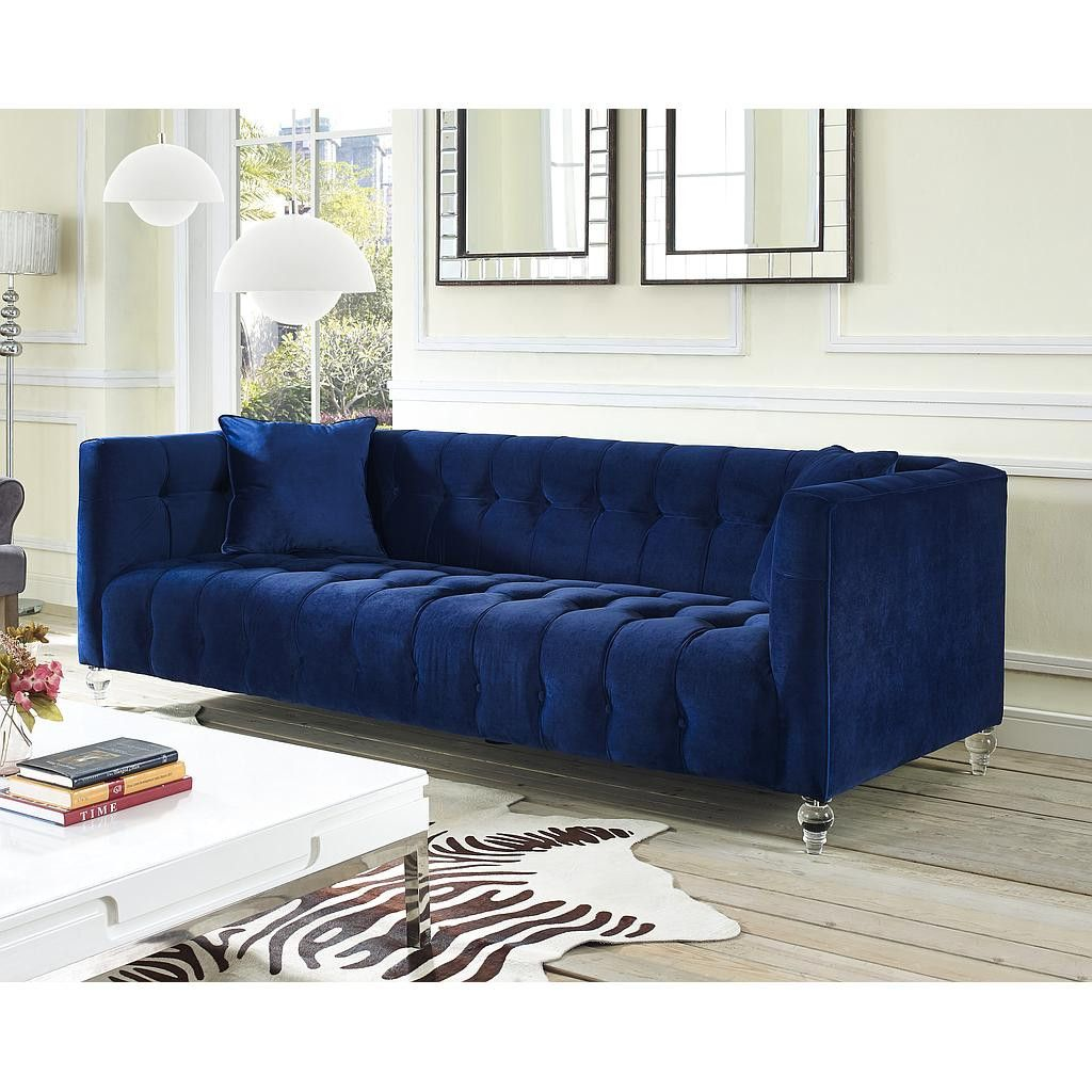 Awesome Zuomod Bea Blue Velvet Sofa Tov S85 In 929 Our Bea Sofa Creativecarmelina Interior Chair Design Creativecarmelinacom