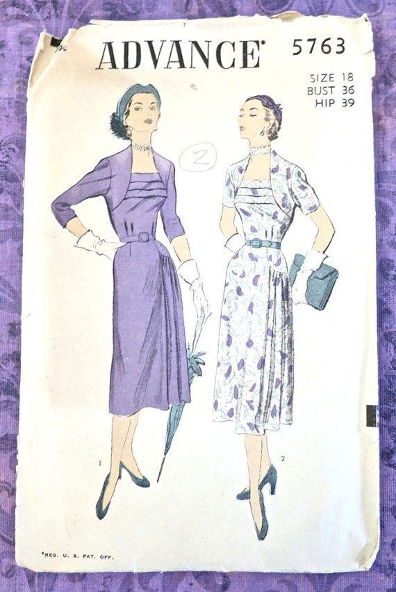 Advance 5763 Vintage 1950s Side Drape Dress Pattern by Fragolina ...