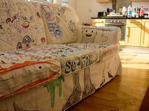DIY sofa cover and doodle art!!! Oh my goodness.......doodling and ...