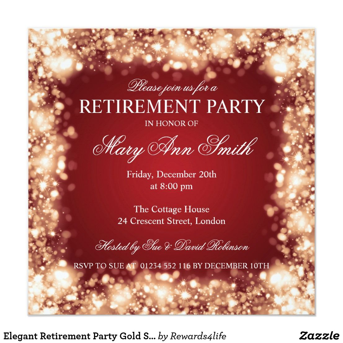 Elegant Retirement Party Gold Sparkling Lights Invitation | party ...