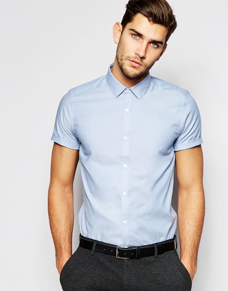 ASOS Smart Oxford Shirt In Blue With Short Sleeves