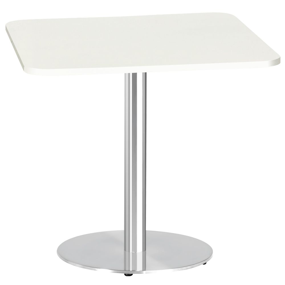 Buy White Glass And Metal Square Coffee Table From Fusion: Square Table - Stainless Steel Base 4