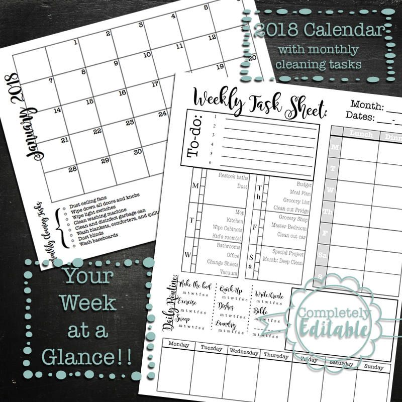 Editable Week at a Glance Printable Planner and Monthly calendar - microsoft weekly planner